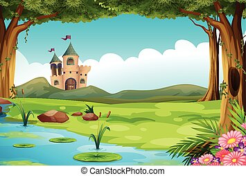 Castle and pond - Illustration of a castle and a pond