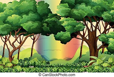 Forest scene with rainbow background
