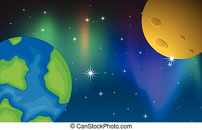 Planets - Illustration of two planets and aurora background