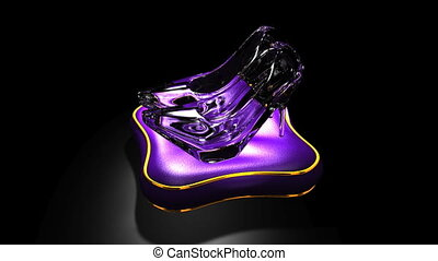 Shining Glass Slippers On Black Background Loopable 3D...
