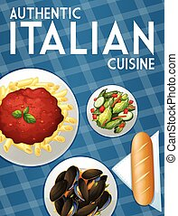 Italian food - Poster of many dishes of Italian food