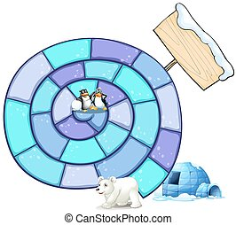 Puzzle game - Illustration of a puzzle game with penguin and...