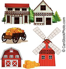 Farm buildings - Illustration of different buildings in a...