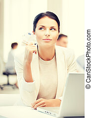pensive businesswoman with cash money - business, money and...