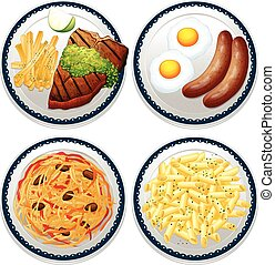 Food - Four dishes of different kind of food