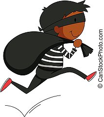 Robber - Closeup robber running away with a black bag