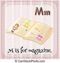 Letter M - Flash card letter M is for magazine