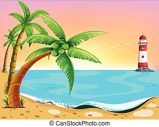 Beach - Illustration of beach view with lighthouse
