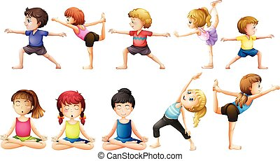Yoga - People doing yoga in different positions