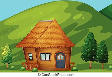 Cabin - Illustration of a single cabin in the countryside