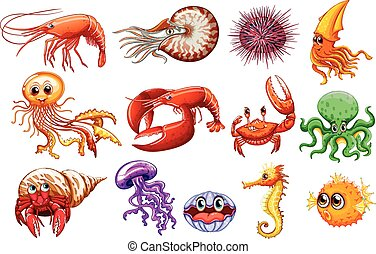 Sea animals - Illustration of different kind of sea animals