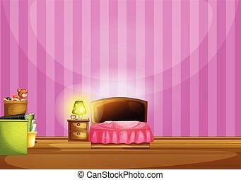 Bedroom - Illustration of a pink bedroom