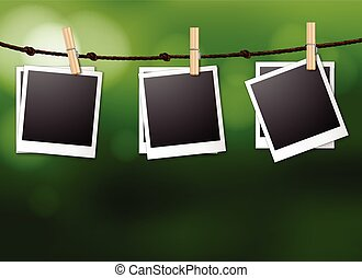 Photo frames - Illustration of photo frames hanging on a...