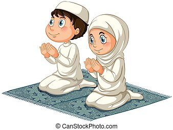 Muslims - Male and female muslims praying on the carpet