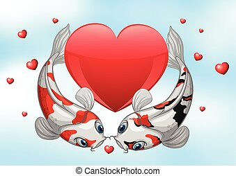 Valentine Koi - Illustration of two kois with hearts...