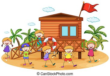 Children and hut - Children playing around the bungalow on...