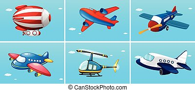 Aircrafts - six different types of aircrafts