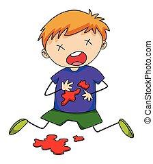 Injured - Close up boy being injured with blood splash