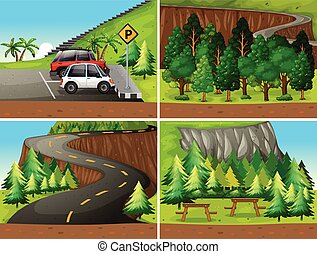 Forest - Illustration of four different scenes of parks and...
