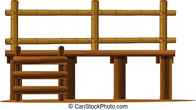 Platform - Illustration of a wooden platform