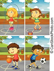 Sports - Illustration of four children doing different...