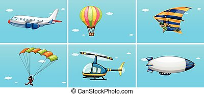 Transportations - Illustration of different ways of...