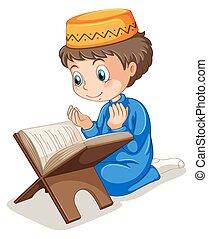 Muslim praying - Close up muslim boy praying