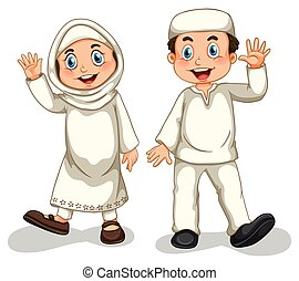 Muslims - Boy and girl muslims smiling