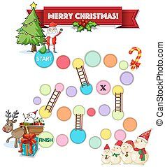 Boardgame - Illustration of a boardgame with christmas theme