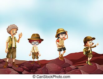 Scouts - Illustration of many children in scout uniform