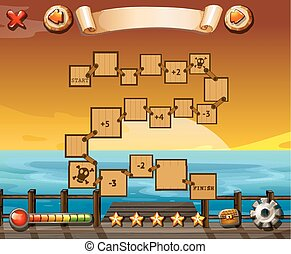 Puzzle game - Game template with ocean view and sunset