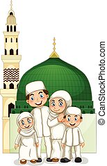 Muslim family with islamic temple