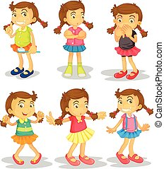 Girl - Cute girl in different clothes doing things