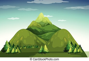 Mountain - Illustration of a view of mountains