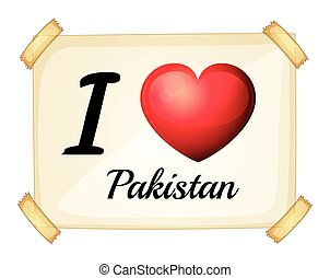 Pakistan - Poster I love Pakistan posted on the wall