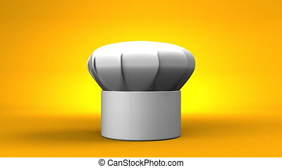 Chefs Hat With Three Stars On Yellow Background 3D render...