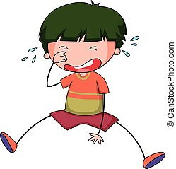 Boy crying - Close up sad boy crying alone