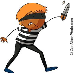 Robber - Close up robber carrying a knife