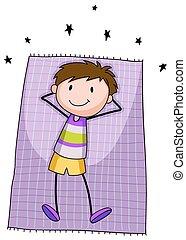 Boy resting - One happy boy resting on a mat