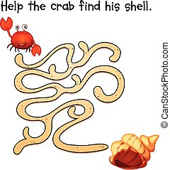 Puzzle game - Illustration of a puzzle game with crab and...