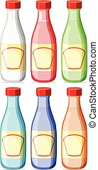 Bottle with lable - Illustration of six bottles with lable