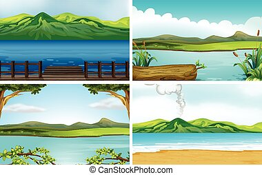 Lakes - Illustration of four different scene of lakes