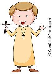 Priest - Closeup Priest in uniform holding a cross