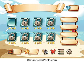 Computer game - Illustration of a computer game with beach...