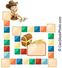 Boardgame template - Illustration of a blank boardgame with...