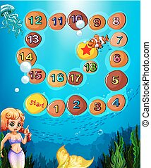 Boardgame template with underwater scene and mermaid
