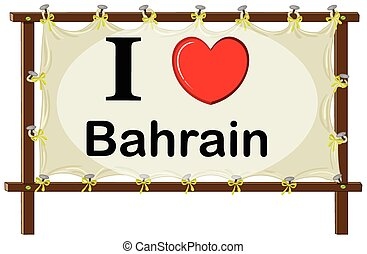Bahrain - I love Bahrain sign in wooden frame