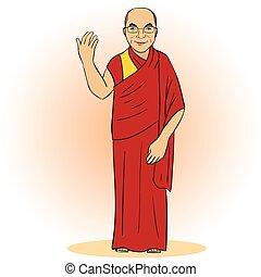 Cartoon figure of buddhist monk. Vector illustration....