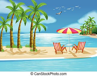 Beach - Illustration of beach view with chairs and umbrella