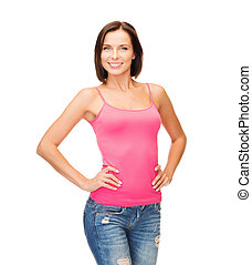 woman in blank pink tank top - tank top design concept -...